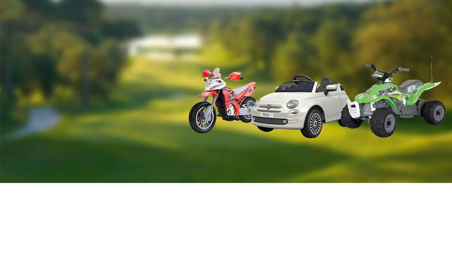 Voitures, quads, motos, scooters électriques.